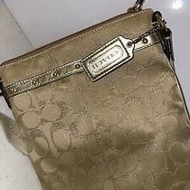 Coach - Gold Logo Crossbody Handbag Purse Shoulder Bag Adjustable Photo