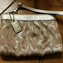 Coach Gold Logo Wristlet-Wallet-Purse-Bag-Logo Fabric-Leather Trim-So Nice Photo
