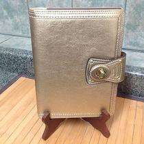 Coach Gold Metallic Leather Agenda Cover Address Book Tablet & Pen   8.5