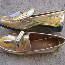 Coach Gold Metallic Leather Haydee Flats 6.5 Gold Leather Loafers Flats 6.5 180 Photo