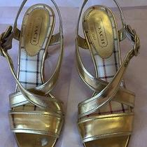 Coach Gold Patent Leather Strappy Sandals Size 7.5 / 37.5 Heels Shoes Photo