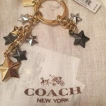 Coach Gold Silver and Black Stars Multi Mix Key Ring Chain Fob F63987 Nwt 70 Photo