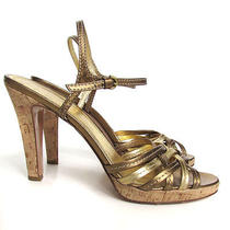 Coach Gold Stephany Strappy Leather Heels in Gold With Cork Heel Summer Style Photo