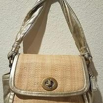 Coach Gold Straw Purse With Tag Photo