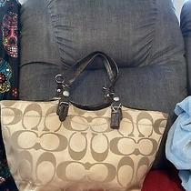 Coach Gold/tan Signature Hand Bag Purse Photo