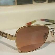 Coach Gold/white Legacy Stripe Lo38 Caroline Polarized Sunglasses Photo