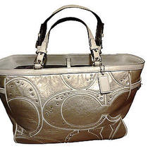 Coach Gold/white Trim Leather Handbag Photo