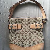 Coach Gorgeous Khaki Brown Signature Leather Shoulder Bag Tote Purse Handbag Photo