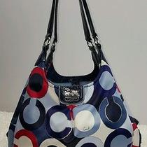Coach Graphic Op Art Metallic Handbag Red White Blue July 4th 21582 Photo