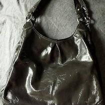 Coach Graphite Gray Patent Leather Maggie Shoulder Bag Purse 13900 Silver Photo