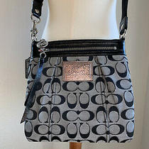 Coach Gray and Black Poppy Signature C Crossbody Purse Bag  W/ Adjustable Strap Photo
