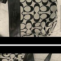 Coach Gray/black Large Canvas & Leather Hobo Shoulder Bag  Photo