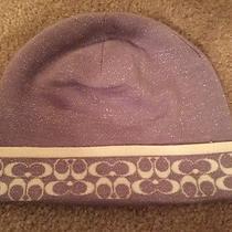 Coach Gray/ivory Metallic Signature C Logo Winter Wool Hat Beanie Photo