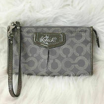 Coach Gray Op Art Wristlet Clutch Wallet Photo