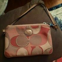 Coach Gray Pink Large C Motif Wristlet Zip Top Wallet Clutch Classic Photo