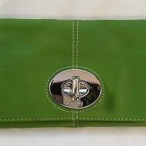 Coach -  Green Leather Fold Over Clutch W/ Silver Hardware  Photo