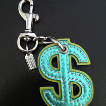 Coach Green Leather Money Dollar  Sign Fob Key Ring  Photo