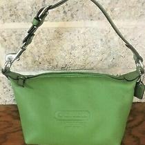 Coach Green Leather Small Top Handle Pouch Mini Handbag Bag Purse Satchel Tote Photo