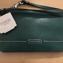 Coach Green Leather Wrist Wallet Brand New  Photo