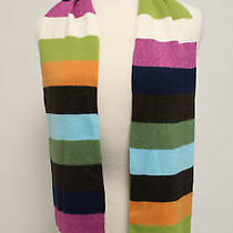 Coach Green Metallic Pink Navy Striped Rectangle Scarf Photo