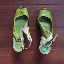 Coach Green Open Toe Heels Size 7.5 Photo