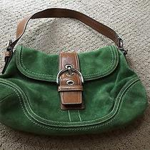 Coach Green Suede Small Hobo With Flap Photo