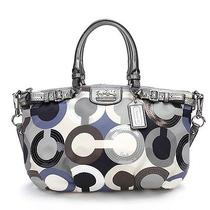 Coach Grey Op Art Sateen Madison Sequin Sophia Satchel Handbag Photo