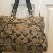 Coach Grey/silver Poppy Purse Tote Euc Large Hot Pink Lining Photo