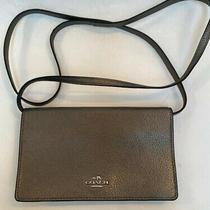 Coach Gun Metal Gray Textured Leather Crossbody Wallet Clutch Purse New Photo