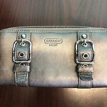 Coach Gunmetal Gray Full Zip Around Leather Wallet Purse Checkbook Cell Phone Photo