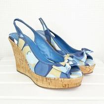 Coach Gwynnie Wedge Sandals Womens 10 Blue Slingback Peep Toe Bow Cork Heels Photo