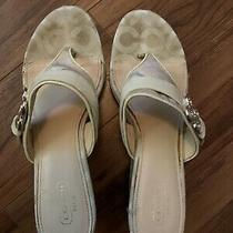 Coach Gypsy Wedge Cream Patent Leather Logo Thong Sandals Shoes 8.5 Photo