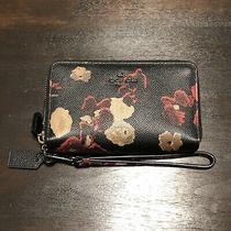 Coach Halftone Floral Double Zip Wallet - F55676 Photo