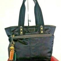 Coach Hampton 10100 Black Nylon & Leather Trim Shopper Tote Handbag Photo