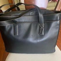 Coach Hampton 5209 Black Leather Bag Brief Case Laptop Tote Photo