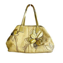 Coach Hampton Archive 10th Anniversary Straw Bag Clutch Wallet Embellished Gold Photo