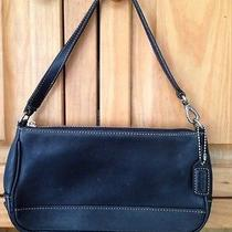 Coach Hampton Black Leather Demi Bag Small Purse Baguette 7785 Photo