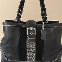 Coach Hampton Carryall Satchel Tote Black Pebble Leather Large F11346 Photo