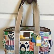 Coach Hampton Colorful Patchwork Shoulder Tote Shopper Leather Trim  10444  Photo
