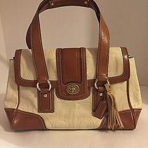 Coach Hampton Cream/cognac Leather Stitched Signature Satchel Photo