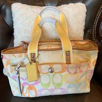 Coach Hampton F10674 Yellow  C-Scribbled Signature Tote Bag Photo