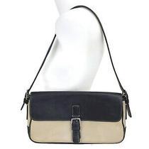 Coach Hampton Flap Women's Beige Canvas Black Shoulder Bag Handbag L0k 7702 Photo