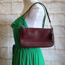 Coach Hampton Handbag Wristlet Bag Mini Purse Burgundy Leather Photo