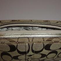 Coach Hampton Khaki Signature Cosmetic Bag Demi Purse Nwt Gold Metallic Leather Photo