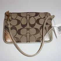 Coach Hampton Khaki Signature Wristlet Bag Demi Purse Nwt Gold Metallic Leather Photo
