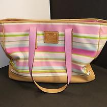 Coach Hampton Multi-Color Striped Tote Pinks Greens and Powder Blue Shopper Photo