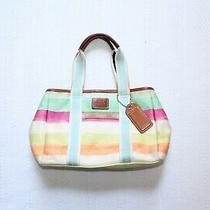 Coach Hampton Multicolor Satin Watercolor Stripe Small Tote Bag Photo
