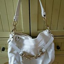 Coach Hampton Off White Leather Pleated Shoulder Hobo Style Purse  F10205  Photo
