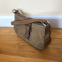 Coach Hampton's Brown Suede & Leather Small Shoulder Bag Purse. 7558.  Authentic Photo