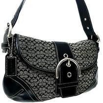Coach Hampton Soho Black Signature Canvas Leather Hobo Hand Bag Designer Purse Photo